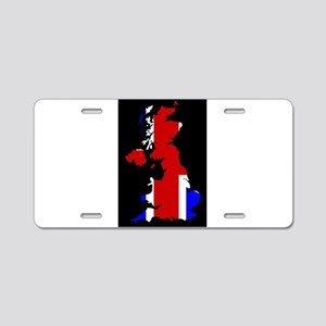 UK Flag and Silhouette Aluminum License Plate