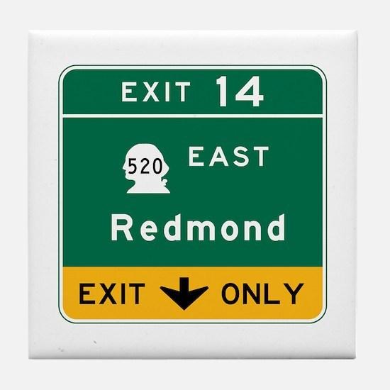 Redmond, WA Road Sign Tile Coaster
