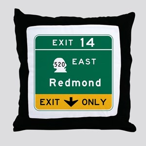 Redmond, WA Road Sign Throw Pillow