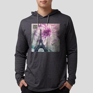 floral paris eiffel tower art Long Sleeve T-Shirt