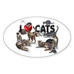 "Oval Sticker ""I love Cats"""