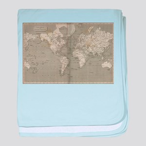 Vintage Map of the World (1820) 2 baby blanket