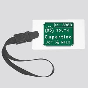 Cupertino, CA Road Sign Large Luggage Tag