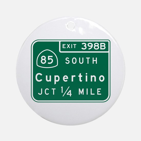 Cupertino, CA Road Sign Round Ornament