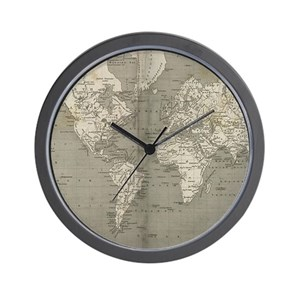 Antique world map wall clocks cafepress gumiabroncs Image collections