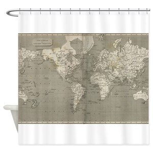 World Atlas Map Shower Curtains
