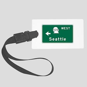 Seattle, WA Road Sign Large Luggage Tag