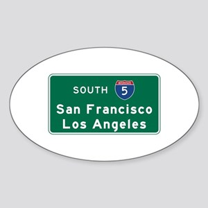 San Francisco/Los Angeles/I-5 Road Sticker (Oval)
