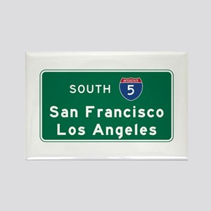 San Francisco/Los Angeles/I-5 Roa Rectangle Magnet