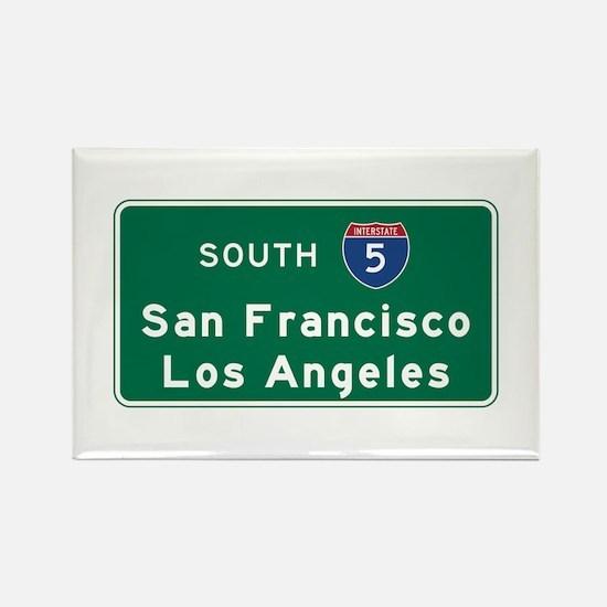 San Francisco/Los Angeles/I-5 Roa Rectangle Magnet