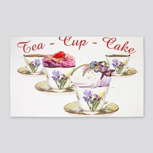 Area Rug With Cupcake And Teacup Decoration