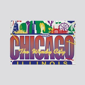 Chicago Confetti Rectangle Magnet