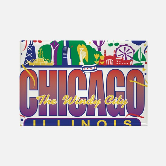 Chicago Confetti Rectangle Magnet