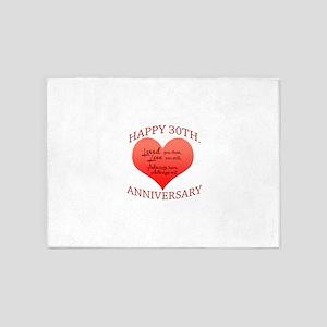 Happy 30th. Anniversary 5'x7'Area Rug