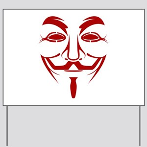 Red Guy Fawkes Mask Yard Sign