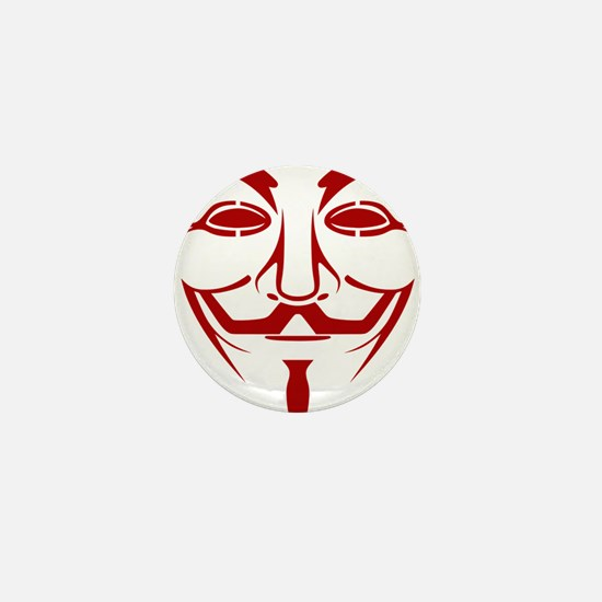 Red Guy Fawkes Mask Mini Button