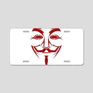 Red Guy Fawkes Mask Aluminum License Plate