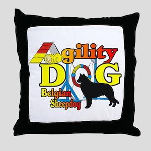 Belgian Sheepdog Agility Throw Pillow