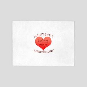 Happy 35th. Anniversary 5'x7'Area Rug