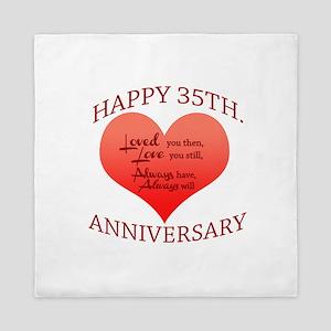 Happy 35th. Anniversary Queen Duvet
