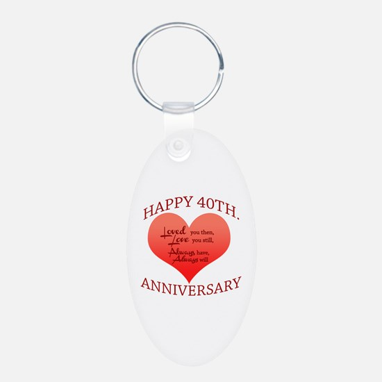 Happy 40th. Anniversary Keychains