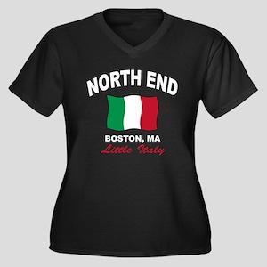 North End Boston,MA Women's Plus Size V-Neck Dark