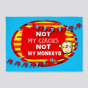 NOT MY CIRCUS MONKEYS FLAGS 5'x7'Area Rug