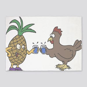 Pineapple and Rooster 5'x7'Area Rug