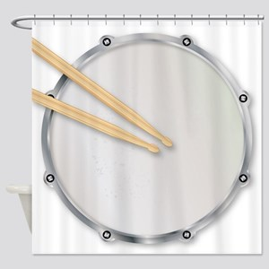 Drumskin and Sticks Shower Curtain