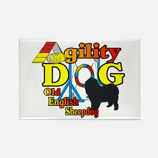Old English Sheepdog Ag Rectangle Magnet (10 pack)