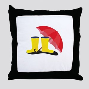 Rubber boots and umbrella Throw Pillow