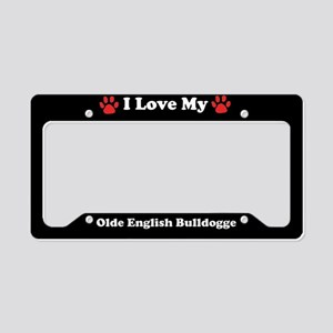 I Love My Olde English Bulldogge Dog License Plate