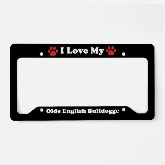 I Love My Olde English Bulldogge Dog License Plate