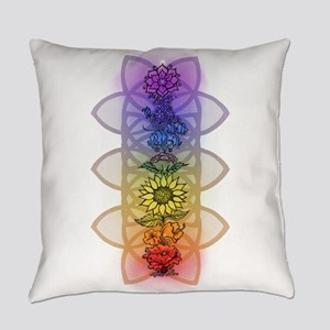Chakra Flowers Everyday Pillow