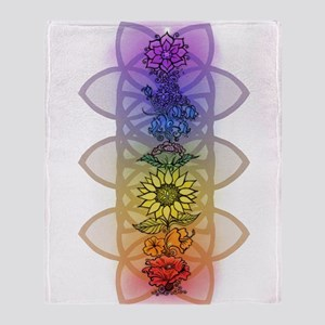 Chakra Flowers Throw Blanket