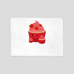 Strawberry Cupcake Family 5'x7'Area Rug