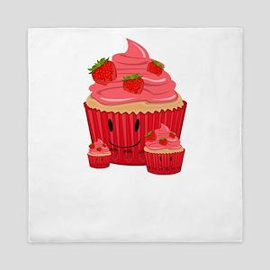 Strawberry Cupcake Family Queen Duvet