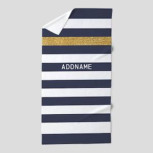 Navy Blue and Gold Stripes Monogram Beach Towel