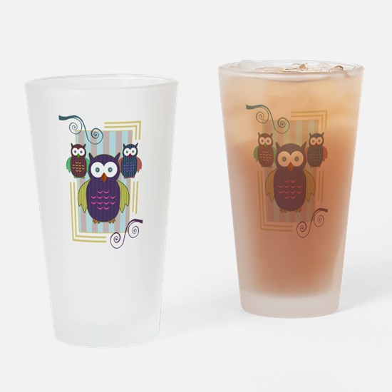 Striped Owls Drinking Glass