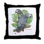 Tropical African Greys Throw Pillow