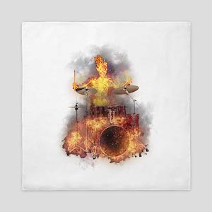 Flaming Skeleton Drumer Set 1 Queen Duvet