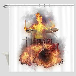 Flaming Skeleton Drumer Set 1 Shower Curtain