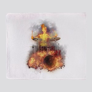 Flaming Skeleton Drumer Set 1 Throw Blanket
