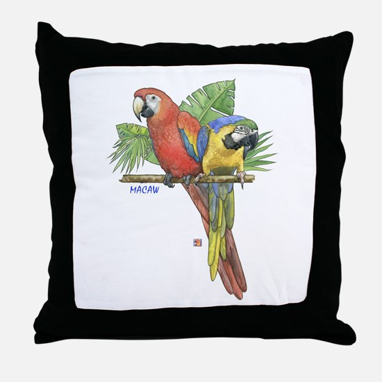 Tropical Macaws Throw Pillow