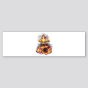Flaming Skeleton Drumer Set 1 Bumper Sticker