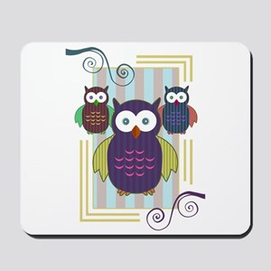Striped Owls Mousepad