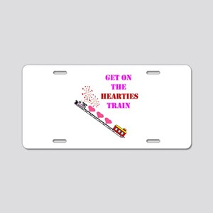 Get on the Heartie Train Aluminum License Plate