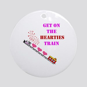 Get on the Heartie Train Round Ornament