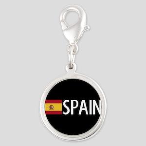 Spain: Spanish Flag & Spain Silver Round Charm