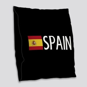 Spain: Spanish Flag & Spain Burlap Throw Pillow